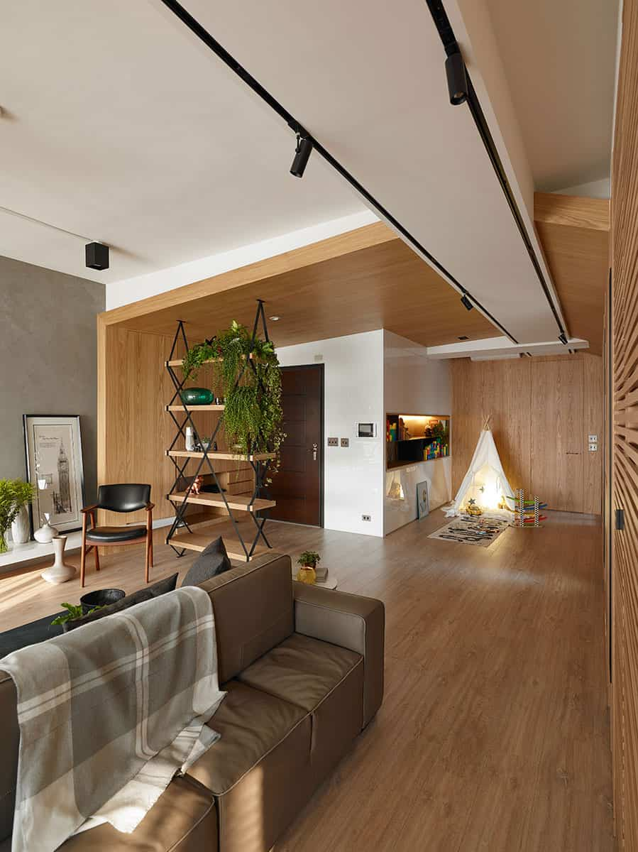 The wooden part of the room looks more homey and inviting