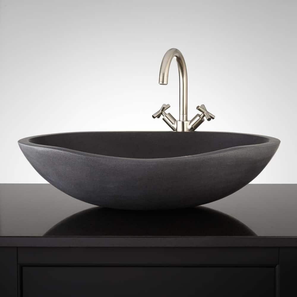 Thera lava stone vessel sink