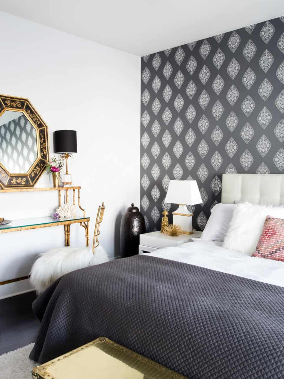 Wallpaper-ed feature wall by Claire Staszak