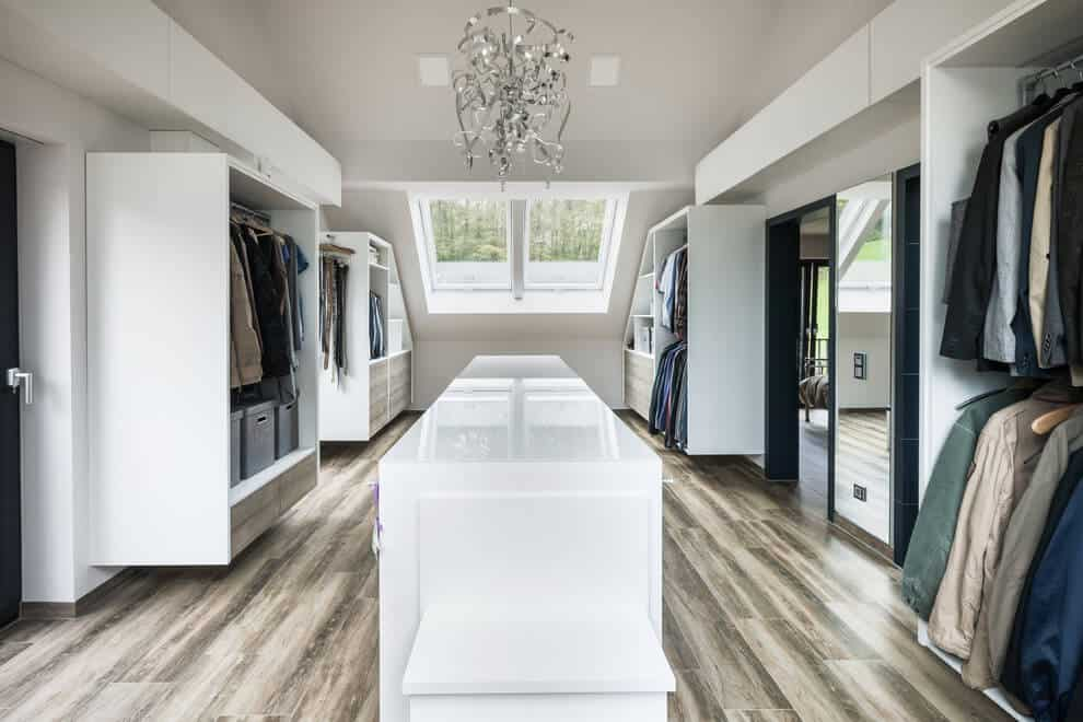 Wardrobe acts as a dressing room full of separate storage units