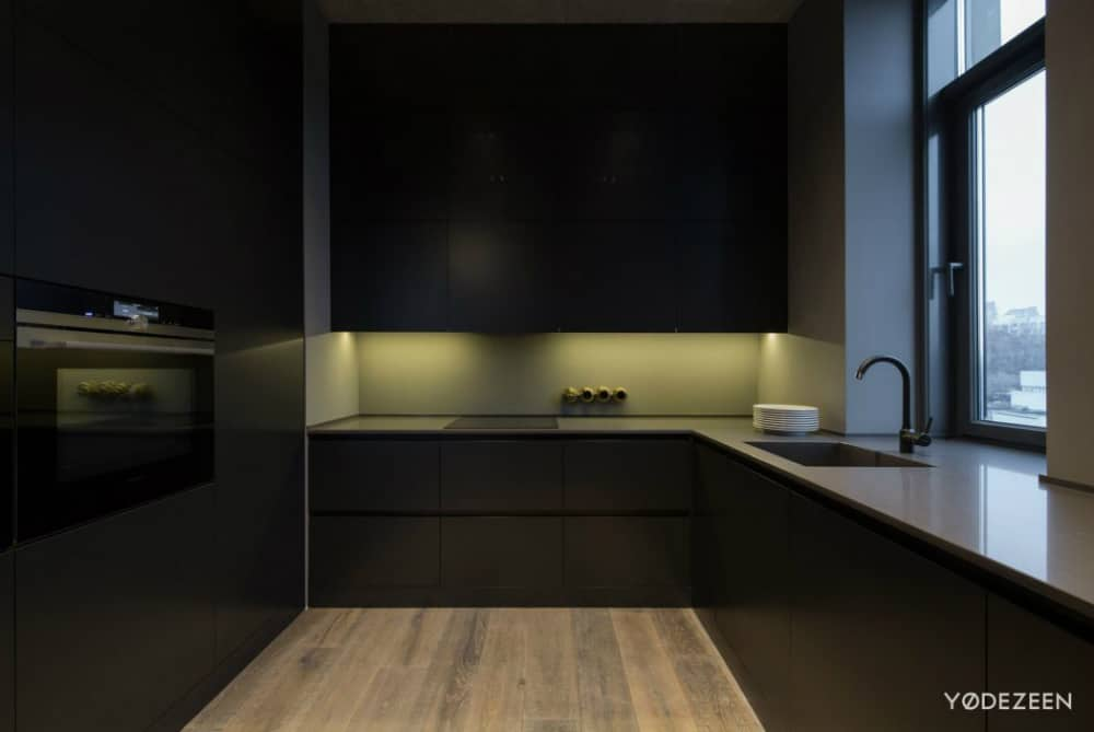 Ambient light gives the kitchen a slightly khaki color accent