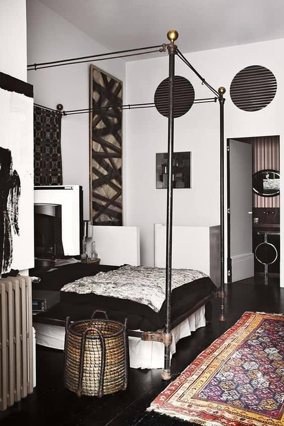 Black Pipe Modern Bed