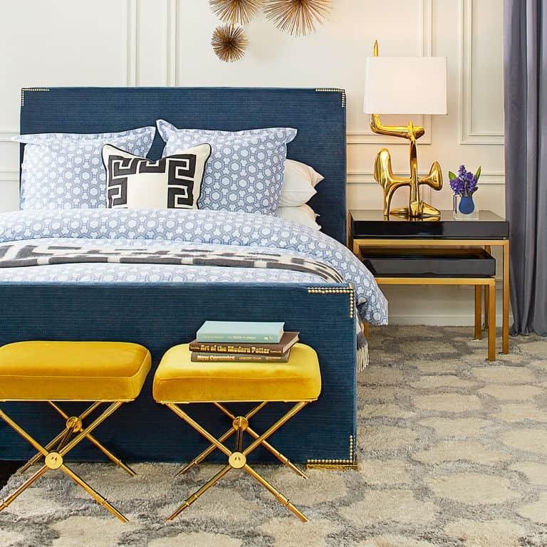Blue Glam Modern Bed