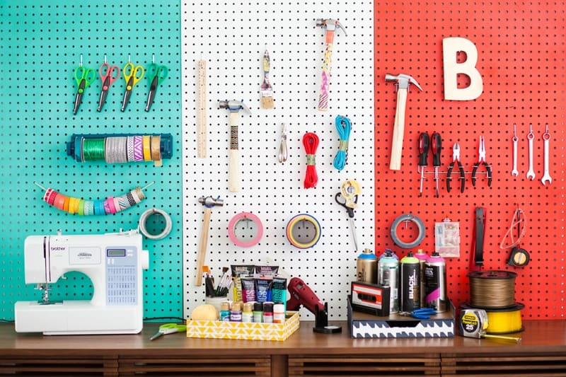 COlorful Pegboard Wall For Small Office Space