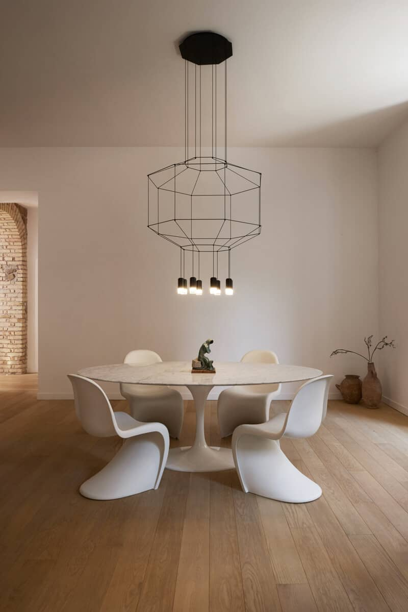 Carcass pendants are very popular dining room lights