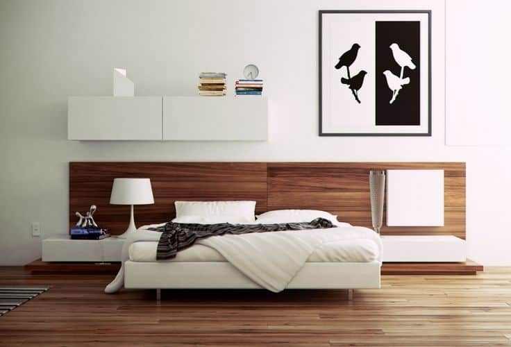 Clean white and wood modern bed