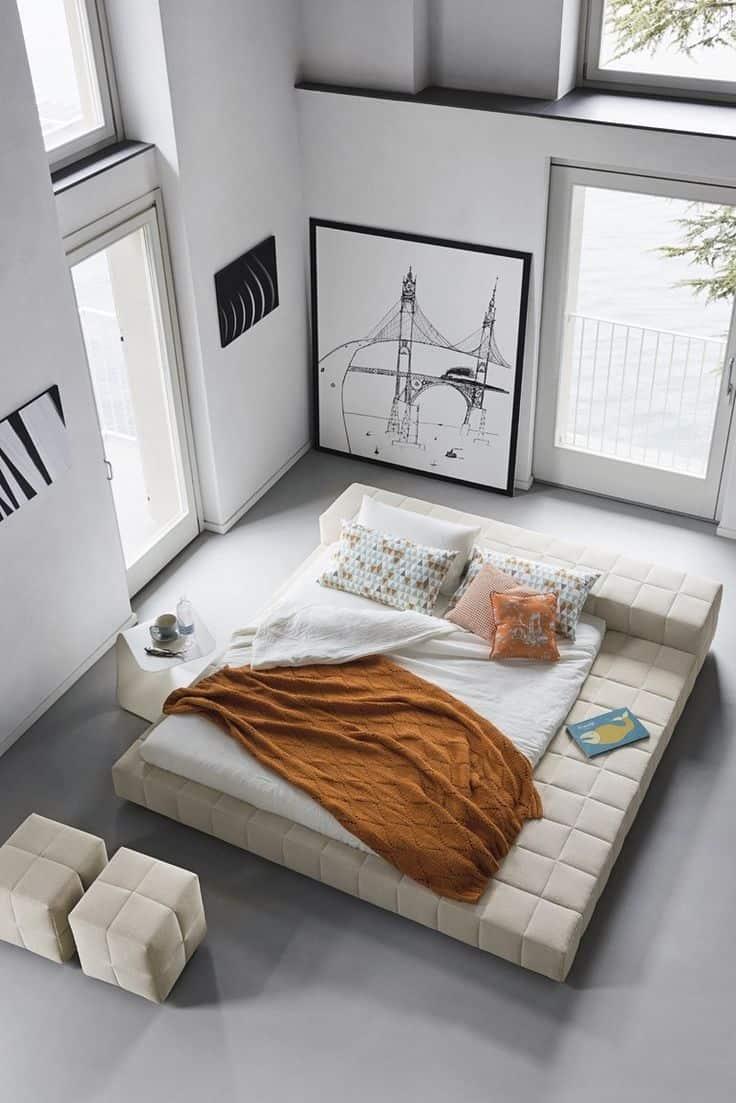 Cream Textural King Modern Platform Bed