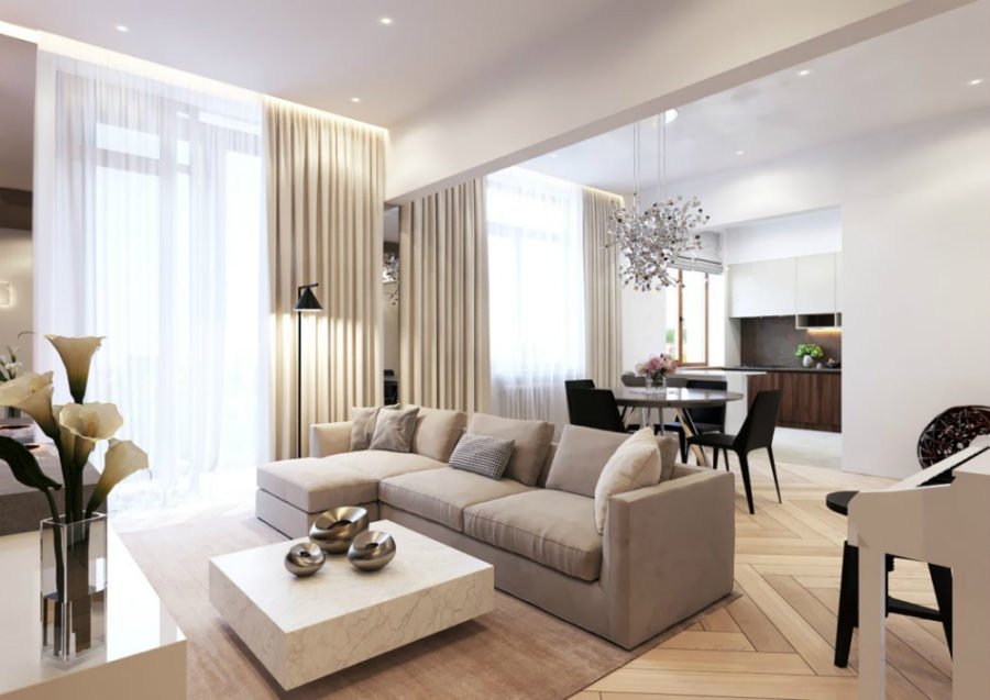 Elegant Open Layout Living Room Boasts Rich Textures And Neutral Hues 900x637 Refined Elegance In Moscow