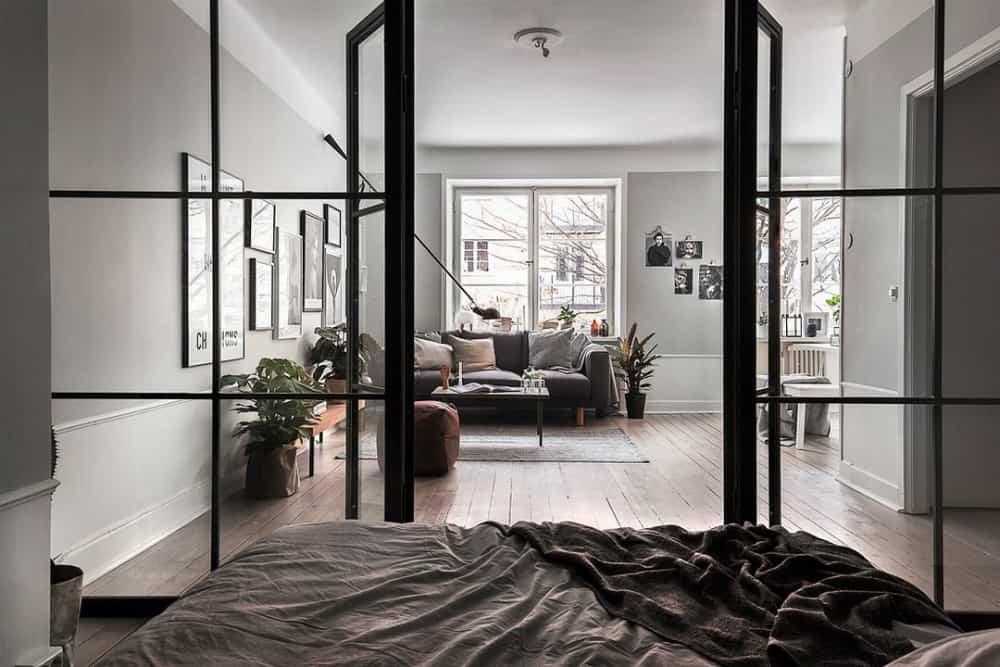 Framed glass sleeping area wall