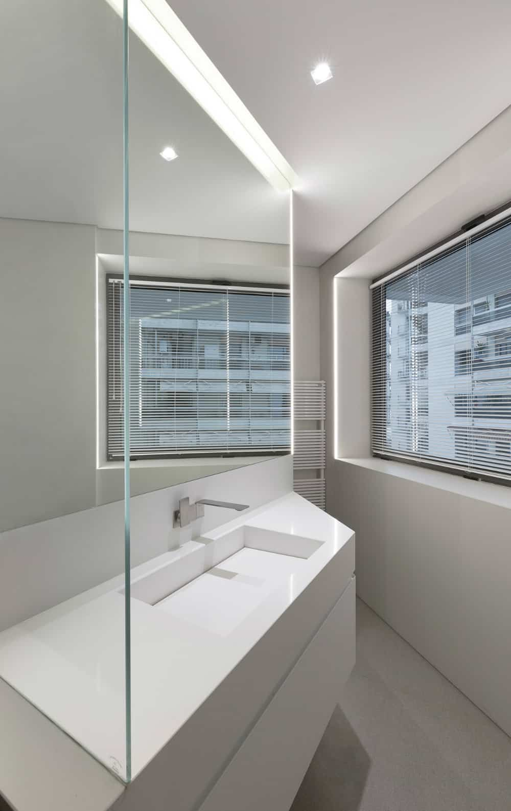 Generous bathroom window provides privacy instantly with simple blinds