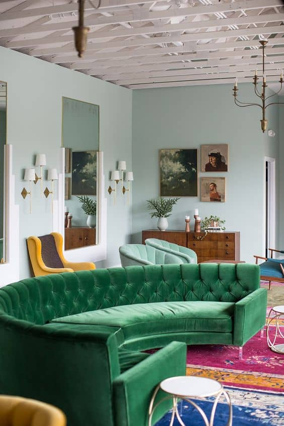 View In Gallery Green Velvet Round Sofa 20 Couches That Will Steal The Show