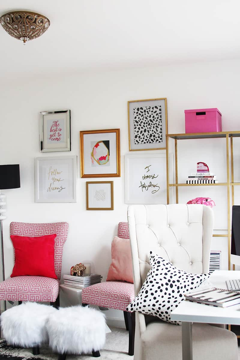Home office with a wall gallery