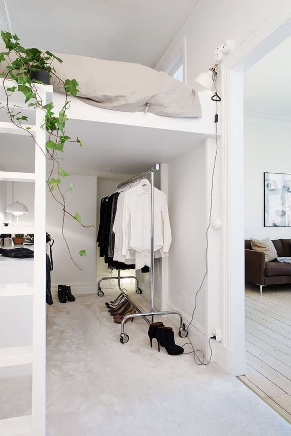 Loft bed with a dressing area underneath