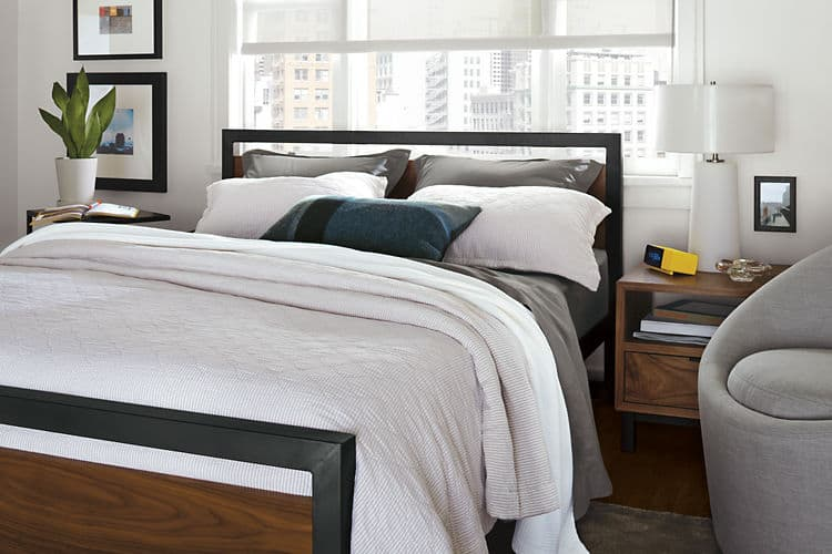 Metal and Wood Panel Modern Bed