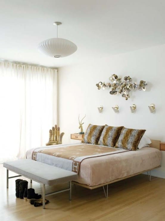 Modern Bed with Hairpin Legs