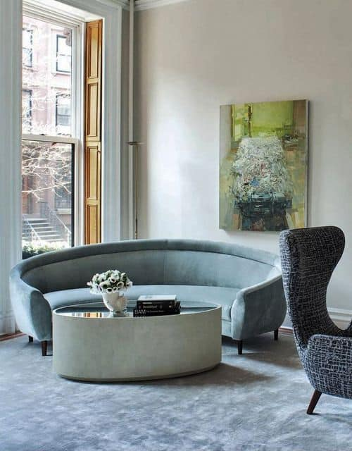 Modern Light Aqua Round Sofa