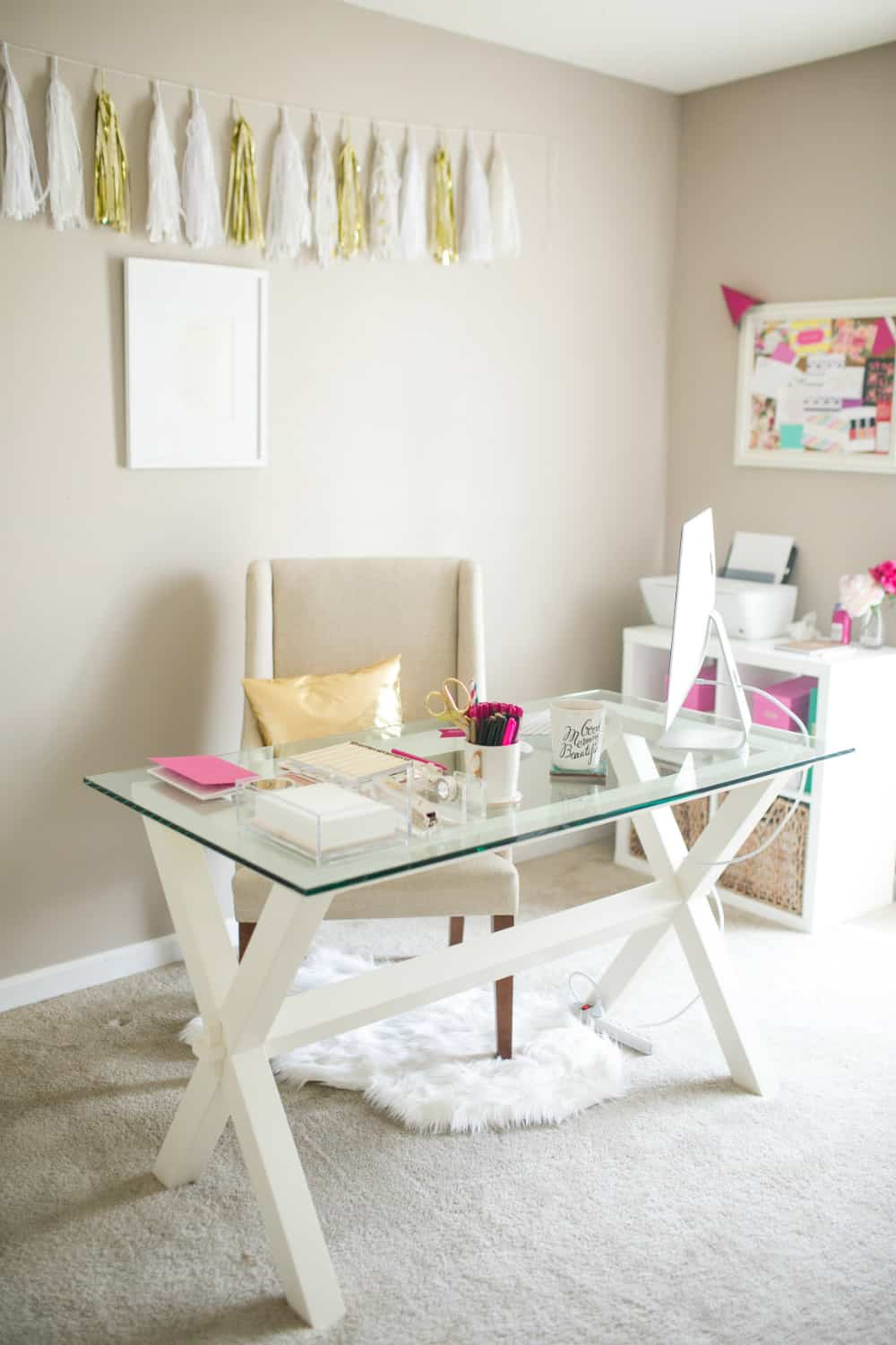 Neutral home office with bright accents