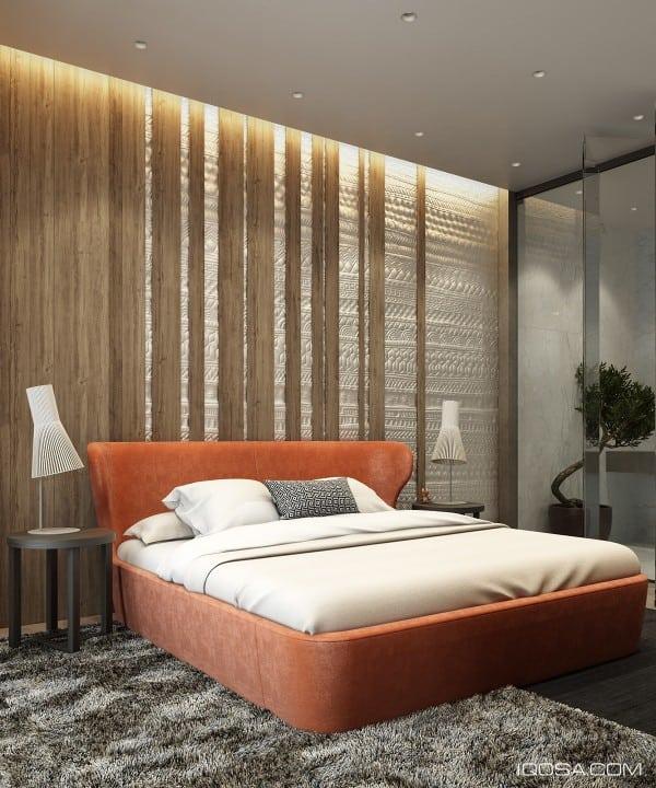 Orange Velvet Modern Bed