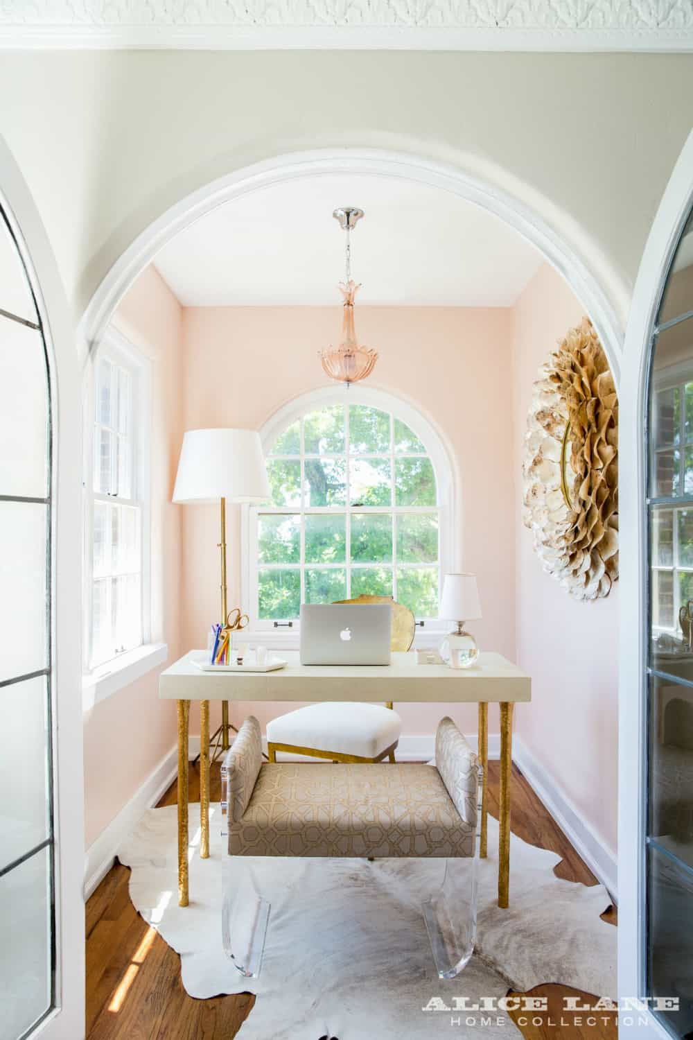 Pale pink home office