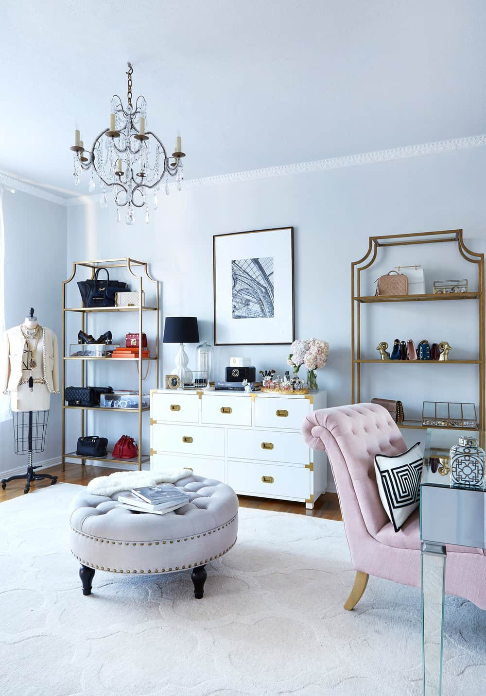 Pastel home office with luxe furnishings