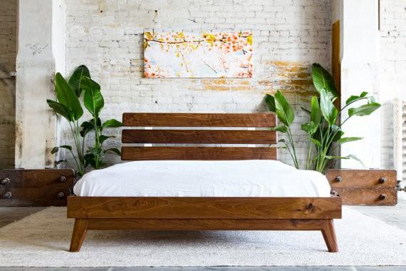 Platform Walnut Modern Bed