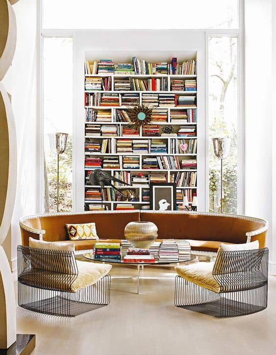 Round Contemporary Sofa in Library