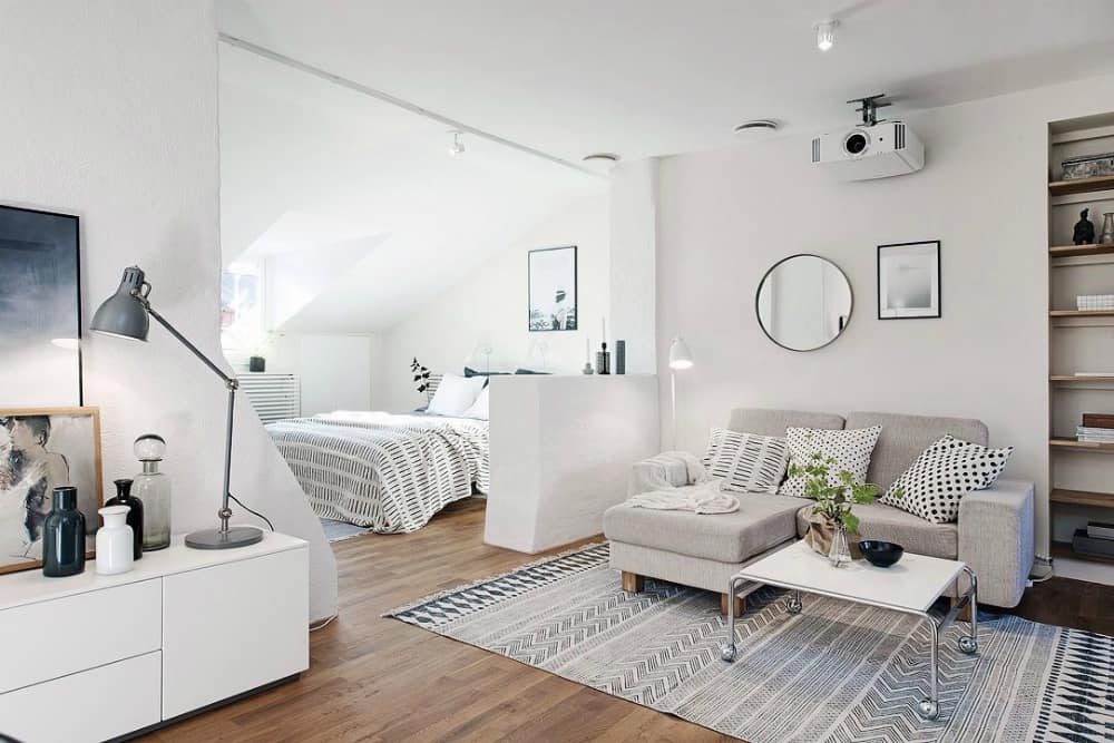 Sleeping area behind a half wall