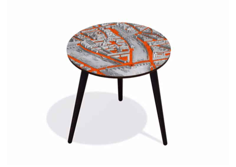 Turgot Pont Neuf M Vermillon side table by Bazartherapy