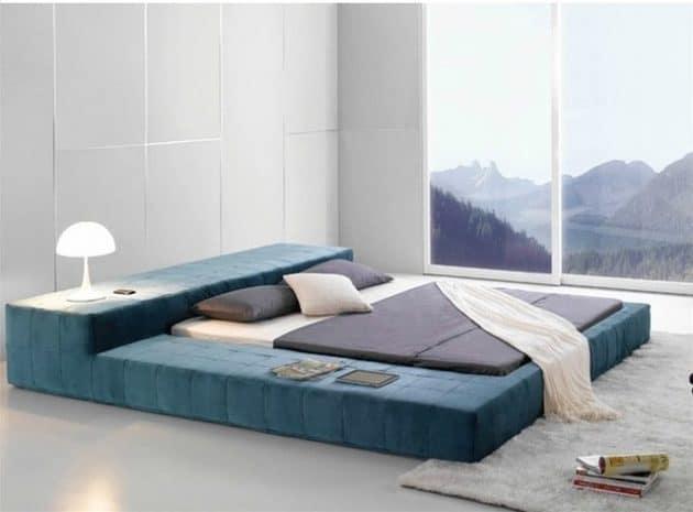 Velvet Platform Modern Blue Bed