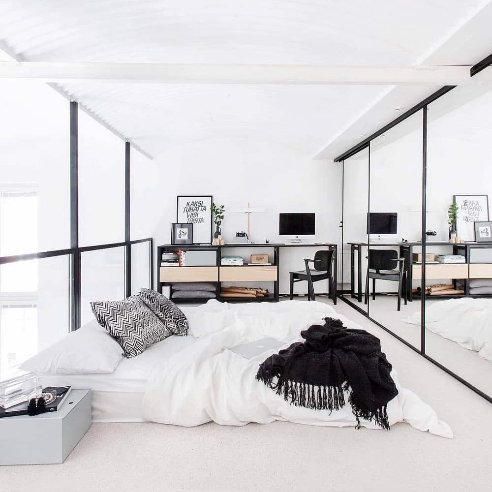 Wall to wall mirror wardrobe
