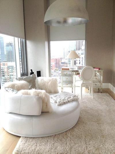 White Plush Round Sofa