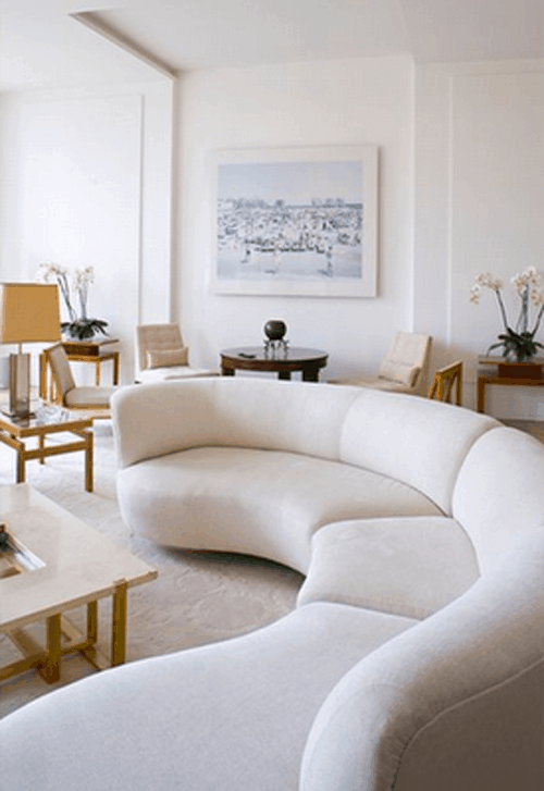 White Rounded Curved Sofa