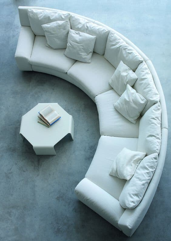White Rounded Plush Couch