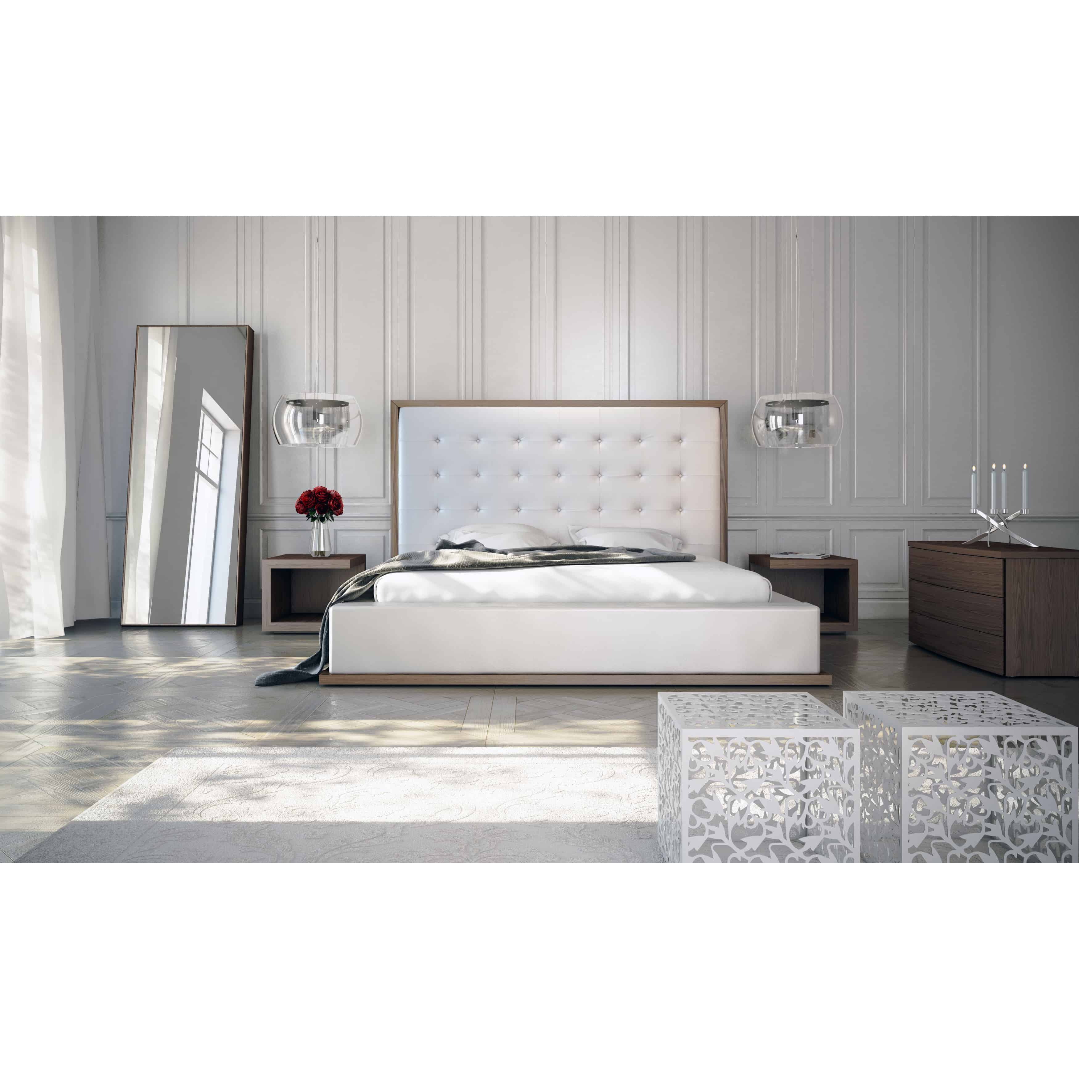White and Wood Tufted Modern Bed