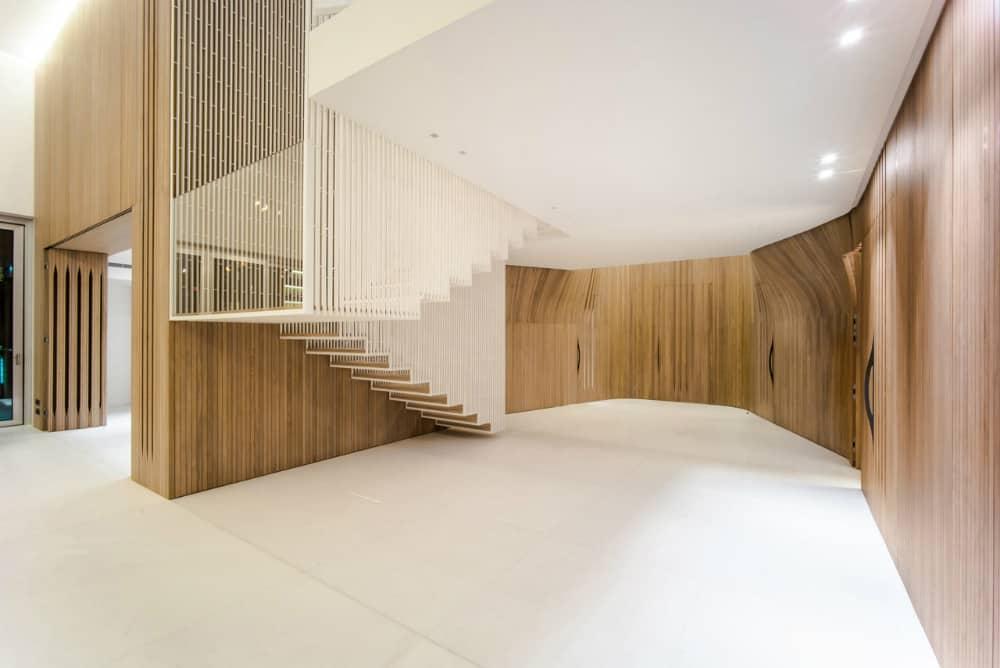 Wooden walls hide plenty of stuf with inbuilt storage
