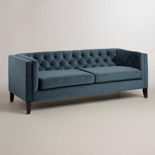 midnight blue velvet kendall sofa from world market
