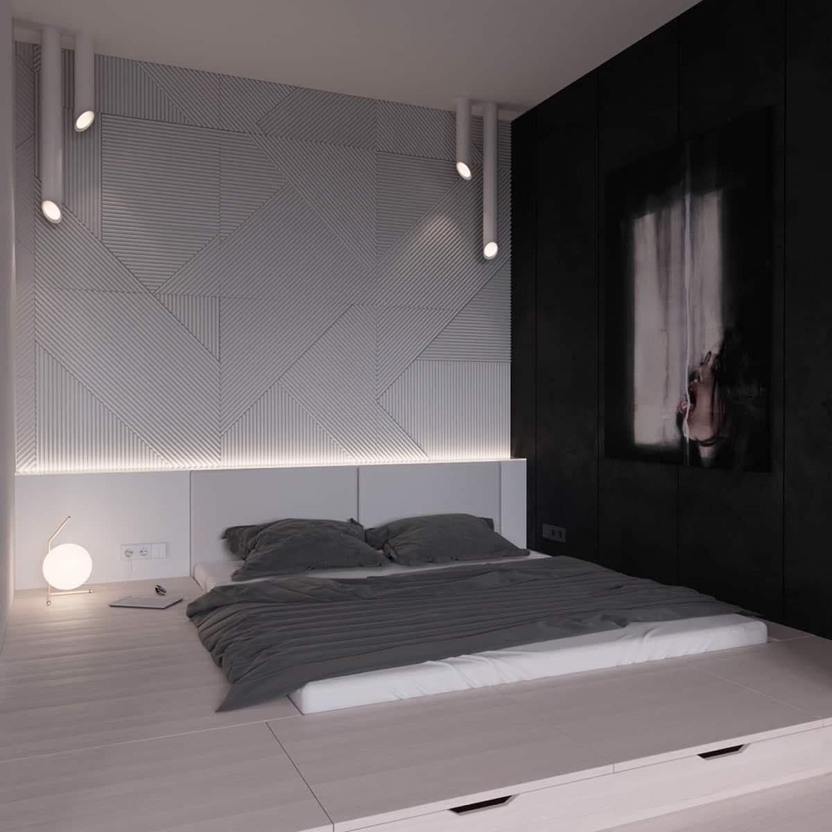 platform-bed-black-and-white-room-ideas