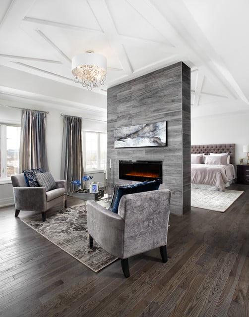 Expansive Bedroom with fireplace like divider
