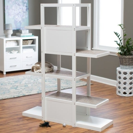 Boomer George 60.25 in. Bookshelf Cat Tree 25 Pieces of Cat Furniture to Keep Your Home Stylish