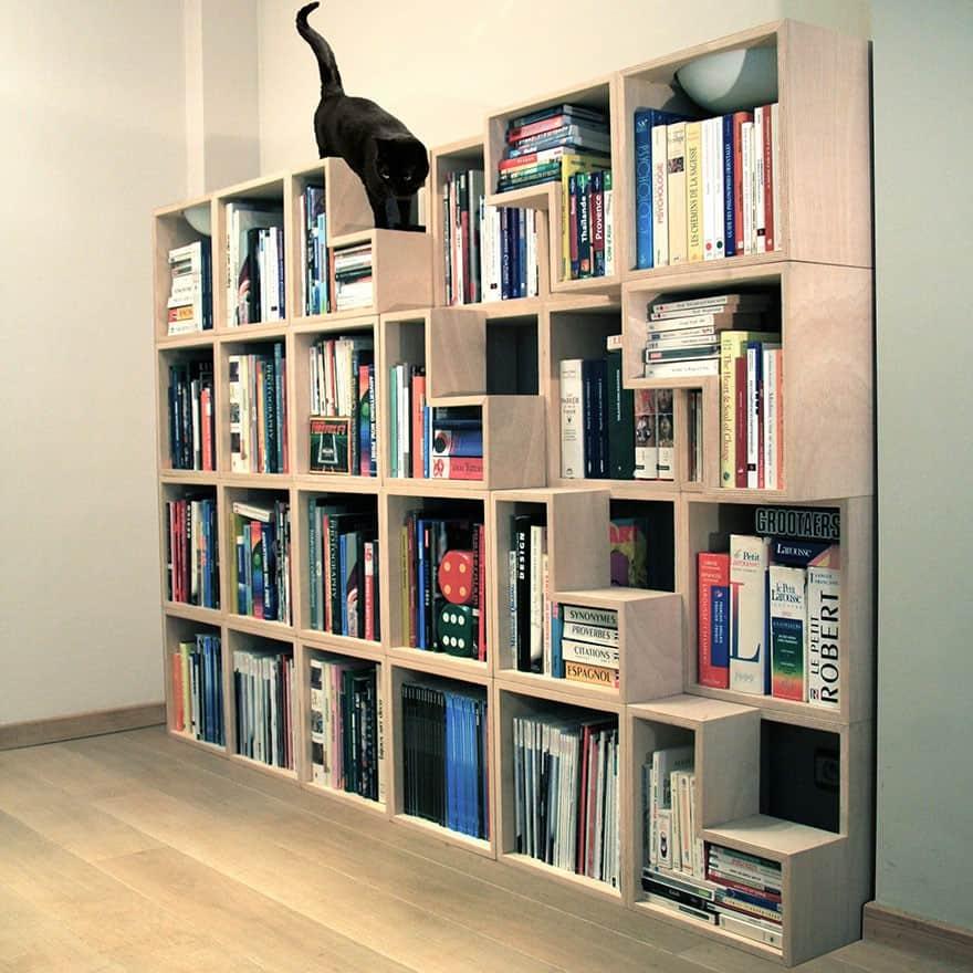 Cat bookshelf with stairs
