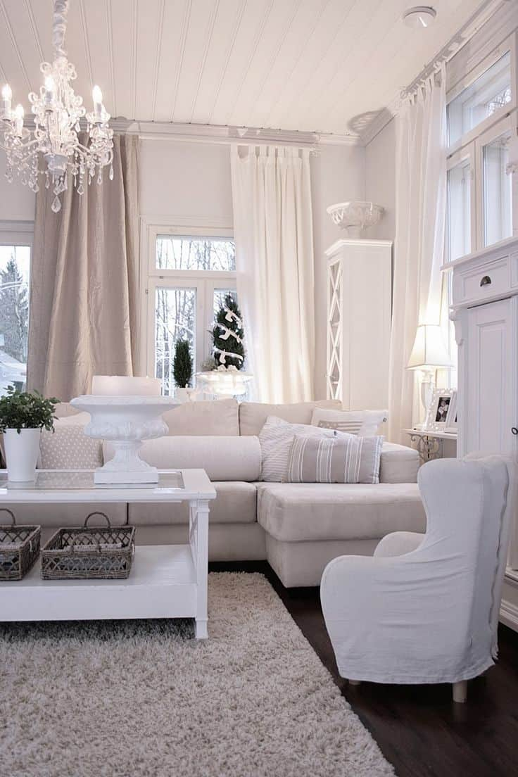 Incorporate White living room full white 10 Home DéCor Tricks to Brighten up a Dark Room