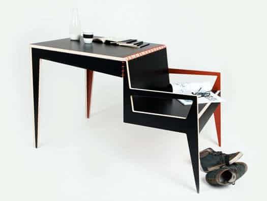 desk with seat