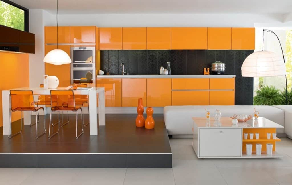 Accent-Orange-Kitchen-Cabinet-Color-in-Glossy-Finishing-Working-with-White-and-Black-Touches