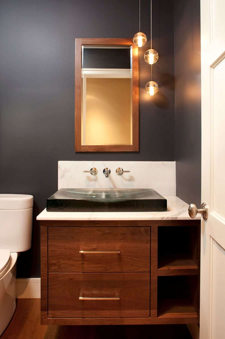 Add contrast with a black modern sink