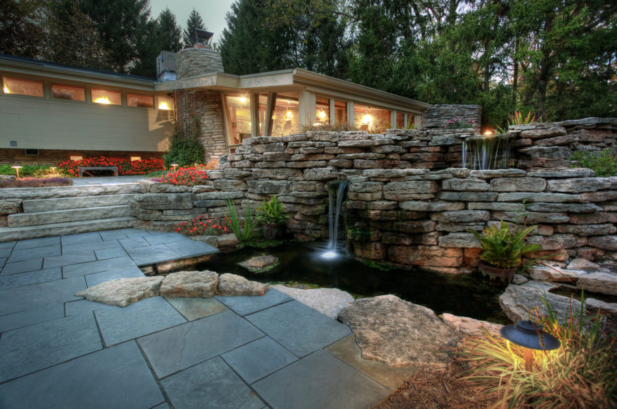 View In Gallery Beautiful Outdoor Koi Pond At Home 900x597 20 Koi Ponds  That Will Add A Bit Of