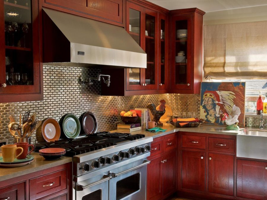 40 colorful kitchen cabinets to add a spark to your home for Burgundy kitchen cabinets pictures