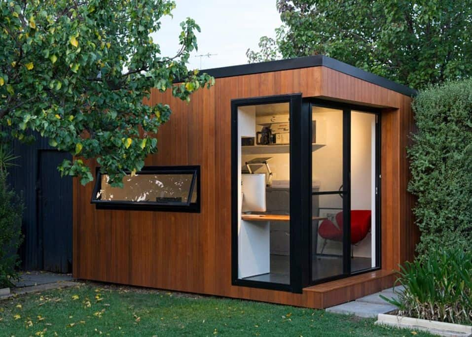 Contemporary Wood Shed With Black window Frames