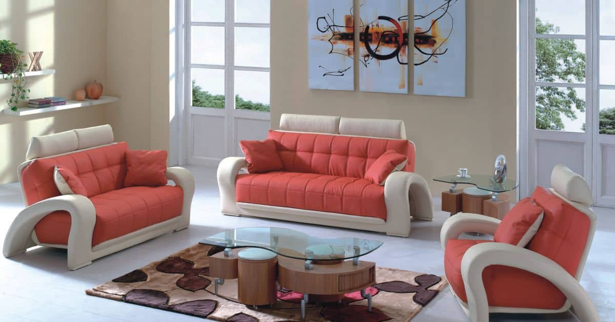 Contemporary sofa design in orange