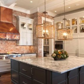 Copper kitchen accents and brick 285x285 Our Pick on the Best Kitchen Design Trends