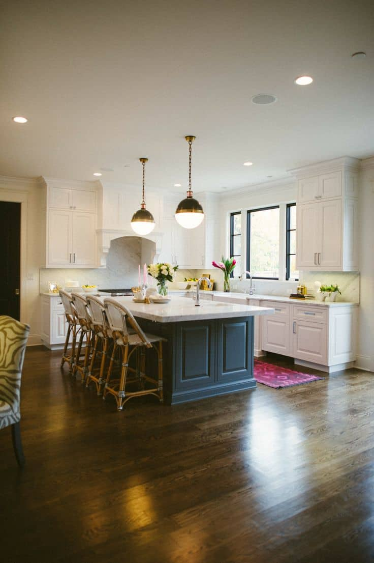 Dark Hardwood Floors in Eclectic Kitchen